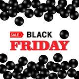 Black Friday-Verkoopbanner met glanzend zwart parel en verkoopprijskaartje stock illustratie