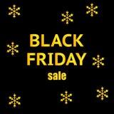 Black Friday-verkoopbanner met sneeuwvlokken Ontwerpmalplaatje voor Kerstmisverkoop, de winterverkoop of Nieuwjaarverkoop gemakke royalty-vrije stock foto's