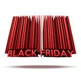 Black Friday-verkoopmarkering in streepjescodestijl Stock Foto