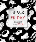 Black Friday vertical banner. Fashion accessories in hand drawn style on a background. Black and white raster illustration.  royalty free illustration