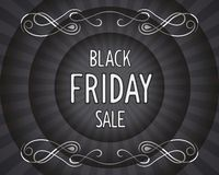 Black friday vintage banner. Black friday - retro cinema 3D poster with author designed lettering. Vector eps 10 Stock Photography