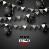 Black Friday Wallpaper with Shiny Balloons and Bunting Pennants Royalty Free Stock Photography
