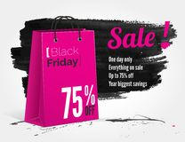 Black Friday watercolor banner with splashes Stock Photo