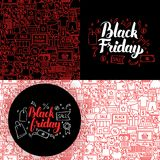 Black Friday Website Banners. Vector Illustration for Sale Promotion Royalty Free Stock Images