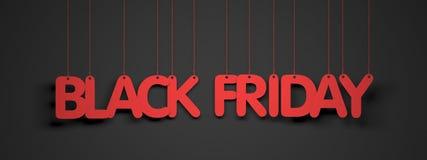 Black Friday - weiße Wörter auf rotem Hintergrund Stockfotos