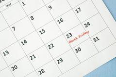 Black Friday. On white calendar Royalty Free Stock Images