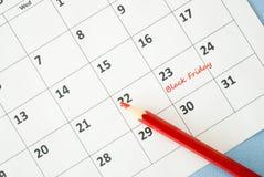 Black Friday. On white calendar Royalty Free Stock Image