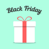 Black friday and white gift box. Concept of annual november big sales. isolated on stylish background. flat design style modern vector illustration Stock Image