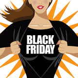 Black Friday woman tearing shirt open Royalty Free Stock Image