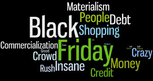 Black Friday Word Cloud. Word cloud for Black Friday. Dark background and green blue colors Stock Photos