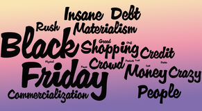 Black Friday Word Cloud, Gradient. Black Friday word cloud on a gradient colored background Stock Images