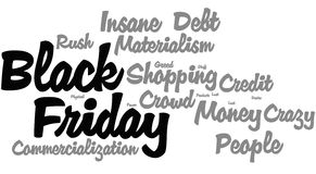 Black Friday Word Cloud. Black gray word cloud for Black Friday Royalty Free Stock Images