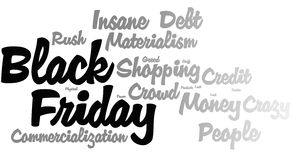 Black Friday Word Cloud. Black gray word cloud for Black Friday Stock Photography
