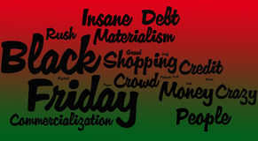 Black Friday Word Cloud. On a red green background Royalty Free Stock Photos