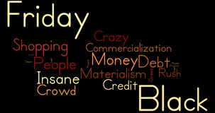 Black Friday Word Cloud. Warm tones against a dark background Royalty Free Stock Photos