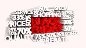 Black Friday word and percentage discount signs. 3D Black Friday word and percentage discount signs Royalty Free Stock Images