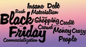 Black Friday-Word Wolk, Gradiënt stock afbeeldingen