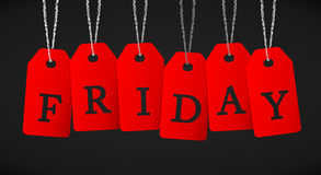 Black Friday. The word Friday written with red labels on black background Royalty Free Stock Photography