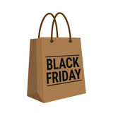 Black friday, wording on brown shopping bag on white background Stock Images