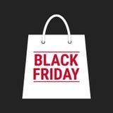 Black friday, wording on white shopping bag on black background Stock Photos