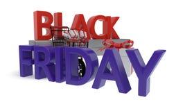 Black Friday zakupy pojęcie, 3d rendering Ilustracja Wektor