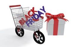 Black Friday zakupy samochód, 3d rendering Ilustracji