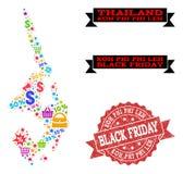 Black Friday-Zusammensetzung der Mosaik-Karte von Koh Phi Leh und von Bedrängnis-Stempel vektor abbildung