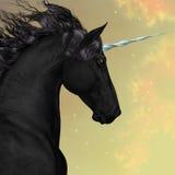 Black Friesian Unicorn Stock Images