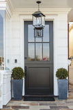 Black front door framed by plants stock photo