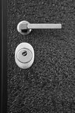 Black front door. With lock and handle Stock Images