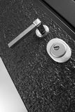 Black front door. With lock and handle Royalty Free Stock Photo
