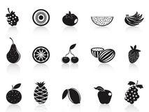 Black fruit icons set Royalty Free Stock Photo