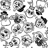 Black fruit outline, coloring seamless pattern. A cartoon style royalty free illustration