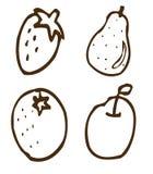 Black fruit shapes Stock Photos