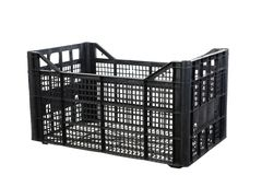 Black fruits and vegetable plastic crates Royalty Free Stock Image