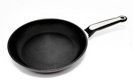 Black frying pan isolated on a white Royalty Free Stock Photo