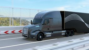 Black Fuel Cell Powered American Truck driving on highway. 3D rendering animation stock footage