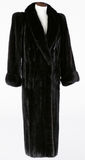 Black full length mink coat Stock Photo