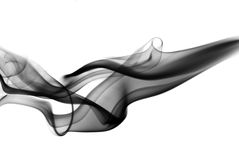Black fume curves on white Royalty Free Stock Images