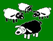 Black Fun Sheep Character Royalty Free Stock Photo