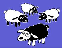 Black Fun Sheep Character Stock Image