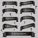 Black funeral ribbon banners Royalty Free Stock Photography