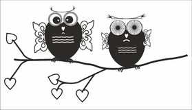 Funny owls on the tree. Black funny owls on the tree Stock Photos