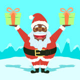 Black Funny Santa Claus Holding Presents Royalty Free Stock Images