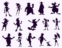 Black funny silhouettes. Funny cartoon human figures in black silhouette Stock Photography