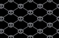 Black funny skulls pattern Stock Image