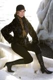 Black fur coat Stock Photo