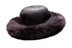 Black Fur Women Hat Studio White Background. Black Fur women vintage winter Hat White Background studio quality stock photo