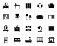 Black furniture and home equipment icons. Vector icon set vector illustration