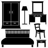 Black furniture icons, bedroom set,  Stock Image